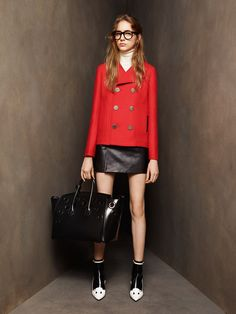 Bally | Pre-Fall 2016 | 06 Red pea coat and black leather mini skirt