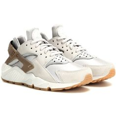 Nike Air Huarache Run Premium Suede Sneakers ($145) ❤ liked on Polyvore featuring shoes, sneakers, grey, nike trainers, gray suede shoes, grey suede shoes, nike footwear and nike