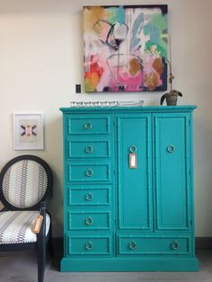 Vintage American of Martinsville armoire Refinished in Chalk Paint® decorative paint by @anniesloanhome . Available at Kalology Studio in Austin, TX   www. kalologystudio.com   512.627.7376