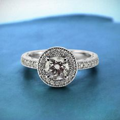 White Gold Round Vintage Halo Engagement Ring