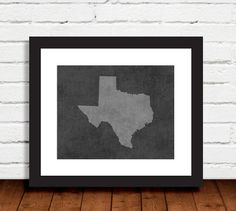 Black and white state of Texas on craquelure background. ($9.99)