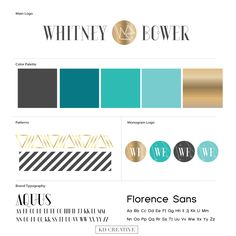 Like this alot also... Incorporates Tiffany colors with gold...  Love the logo gold also .Whitney Bower Brand Board; photographer, logo