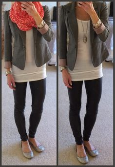 Express minus the leather leggings, faux leather leggings, scuba leggings, pleather leggings, blazer outfit, scarf outfit