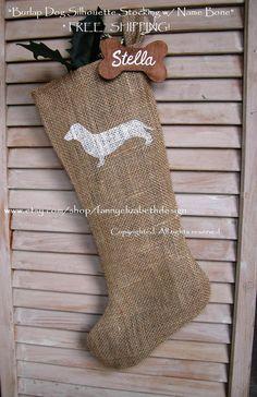stocking for willy Dog Christmas Stocking, Christmas Mom, Christmas Stockings, Christmas Crafts, Christmas Dachshund, Christmas Goodies, Christmas Ornament, Pet Stockings, Burlap Stockings