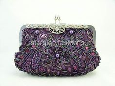 Purple Beaded Sequined Evening Clutch Crystal Frame & 9 Colors Lots in Stock