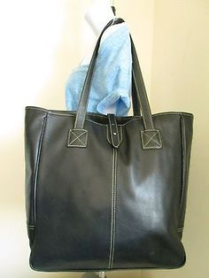 BARRINGTON Nantucket Extra Large Black Genuine Leather Tote Shopper Bag
