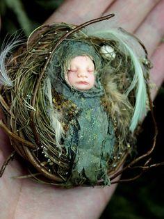 Fairy Baby on Nest Hand-sculpted OOAK Art Doll ADO TEAM. €50,00, via Etsy.