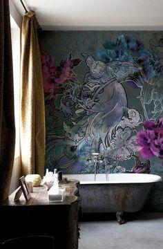 Nenalezeno - tapeta-do-koupelny-wall-deco-mystical-dreams Powder Room Wallpaper, Bathroom Wallpaper, Bathroom Art, Wall Wallpaper, Wallpaper Ideas, Bathroom Ideas, System Wallpaper, Quirky Bathroom, Bathroom Signs