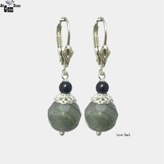 Labradorite Gray Faceted Round Dangle Earrings, Pendants Charm - Choose Style - Handmade - Natural Stones - Jewelry - FREE SHIPPING de ArtGemStones en Etsy