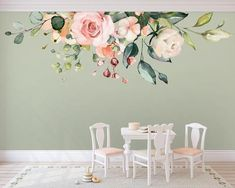 Wall murals Mens Underwear – the Best You can Buy Article Body: There was a time when guys didn't ha Flower Mural, Flower Wall Decals, White Roses, Pink White, White Flowers, Romantic Flowers, Floral Flowers, Watercolor Rose, Floral Wall
