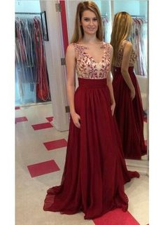 USD$177.45 - Long Chiffon 2015 Prom Dresses Spring Applique Floor Length Sleeves Evening Gowns - www.babyonlinedress.com