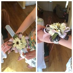 Wrist corsage on a slap bracelet! Cute, fun, and actually stays on all night while you dance! Great for a formal dance, prom, homecoming, sweethearts, wedding party corsages, anything! Would be awesome to DIY!