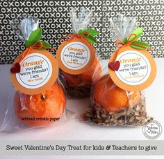 Personalize this tag for Kids or Teachers  Orange you Glad We're friends, I am!  Valentines Day gift Treat