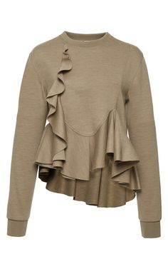 This **Givenchy** top features a crewneck and cascading ruffle detailing.