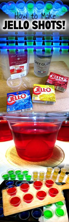 HOW TO MAKE JELLO SHOTS - The basic Jello Shot recipe, and also many more flavors of jello shots! Cocktails, Party Drinks, Cocktail Drinks, Fun Drinks, Cocktail Recipes, Mixed Alcoholic Drinks, Alcoholic Shots, Mixed Drinks Alcohol, Beverages