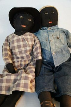 "Pair of antique black cloth dolls 25"" very nice"