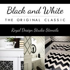 Black and White DIY Stencil Projects for classy and timeless home decor.