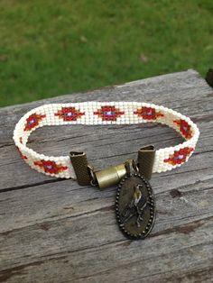 Bead Loom Bracelet with Bird Charm by GlennandThem on Etsy, $12.00