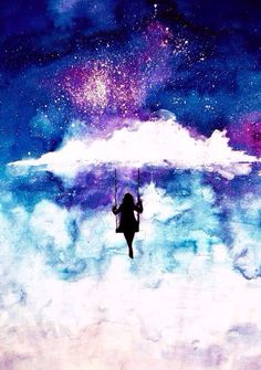 Watercolor art Silhouette of a girl on a swing & outer space
