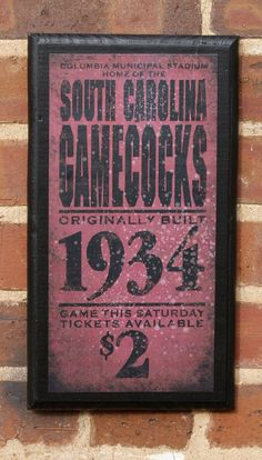 Vintage Gamecocks Wall Plaque