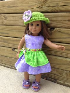 $22 set for American Girl doll or any 18 inch doll. Dress, hat, shoes .