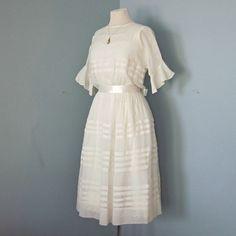 Vintage Wedding Dress...Darling 1920's Sheer Linen Short Wedding Dress with Slip. $325.00, via Etsy.