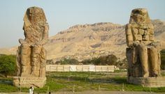 The Colossi of Memnon are two massive stone statues of Pharaoh Amenhotep III, you can visit this site during your trip to the west bank in Luxor http://www.travel2egypt.org/tours/luxor/the-grand-west-bank-tour-8422_55/