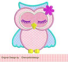 Cute sleeping owl Applique -4x4 5x7 -Machine Embroidery Applique Design on Etsy, $2.99
