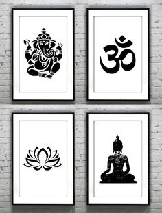 Set of 4 Ganesha lotus buddha om Meditating yoga prints