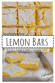 An easy to make low carb Lemon Bars dessert recipe. These keto lemon bars are moist and delicious and full of flavor! #ketodessert #ketolemonbars Diet Desserts, Sugar Free Desserts, Low Carb Desserts, Dessert Recipes, Paleo Recipes, Low Carb Recipes, Paleo Kids, Keto Dessert Easy, Lemon Bars