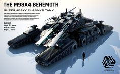 Behemoth Superheavy Plasmyr Tank (FULL HD) by Universe-of-Dusk on DeviantArt Futuristisches Design, Tank Design, Sci Fi Weapons, Weapon Concept Art, Future Weapons, Sci Fi Ships, Futuristic Cars, Futuristic Armour, Battle Tank