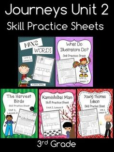 """Skill practice (or homework) sheets for Journeys Third Grade, Unit 2. Lessons include: """"Max's Words"""", """"What Do Illustrators Do?"""", """"The Harvest Birds"""", """"Kamishibai Man"""", and """"Young Thomas Edison"""""""