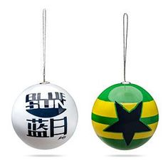 "Enjoy Firefly this holiday with these shiny Christmas balls. The set of four includes a design based on the Independents' flag, ""Shiny"" in the format of the show's logo, the Blue Sun logo, and the Fruity Oaty Bar Girls."