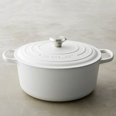Le Creuset Signature Cast-Iron Matte Round Dutch Oven, 3 1/2-Qt., Matte White or Matte Navy