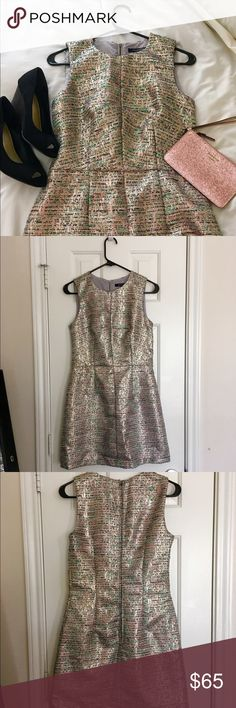 """✨HP✨NWT French Connection Shimmer Dress - Sz 4 ✨Host Pick - Girly Girl Party 8/24✨ Gorgeous French Connection dress in shimmering rose gold! Threads of black, white and mint throughout provide a fun pop of color.  Brand new with tags; no defects. Fully lined. 32"""" shoulder to hem; 24"""" side seam, waist is 14.5"""" across lying flat. Perfect for weddings, cocktails- just about any fancy occasion where you want to shine! ✨ French Connection Dresses"""