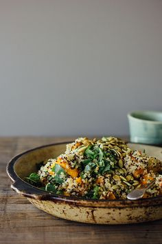 Ginger roasted pumpkin + quinoa salad w/ mint, chilli + lime {gluten-free, vegan}
