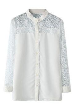ROMWE | ROMWE Cut-out Lace Crochet White Shirt, The Latest Street Fashion