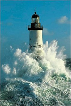 "Ar Men (""the rock"" in Breton) is a lighthouse at one end of the Chaussée de l'Île de Sein, at the west end of Brittany, France"