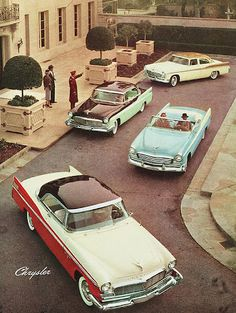 Other than the Clampett's 1921 Oldsmobile truck, the Chrysler Corporation conspicuously supplied cars for The Beverly Hillbillies, everything from Valiants to Imperials. But they weren't the first CryCo products to grace the house's forecourt.... Here are four '56 Chryslers and a couple of Imperials in a company brochur