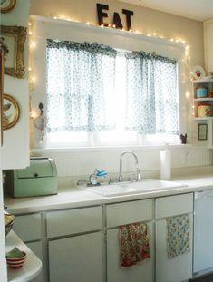 I love year-round string lights! #vintage #kitchen