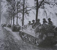 1st Gordons traveling on Bren gun carriers near Loon-Op-Zand in Holland Oct 30th 1944