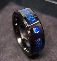 8mm-Tungsten-Carbide-Ring-Black-Celtic-Dragon-Blue-Diamond-Fiber-Mens-Jewelry-US