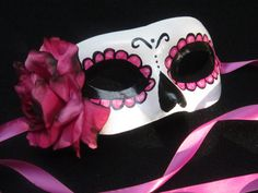 Rosa Electrico Mask Day of the Dead inspired unique by effigymasks, $60.00 - I'm making my own version to wear to a Halloween wedding. :)