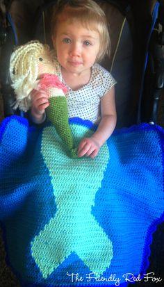 The Friendly Red Fox: Free Crochet Mermaid Tail Blanket Pattern