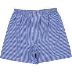 Derek Rose York 1 Col B Pure Cotton Stripe Classic Boxer Shorts - Blue/White | Blue Derek Rose Underwear | KJ Beckett