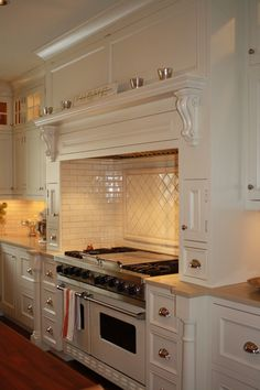 like the backsplash, range hood/ mantle
