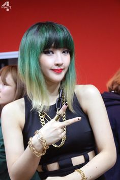4minute jiyoon's green hair