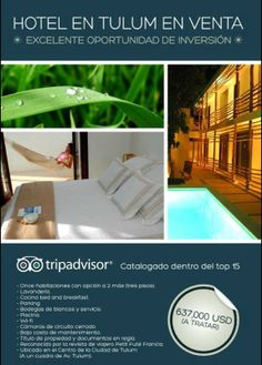 Tulum Hotel En Venta En El Centro. Para mas informacion contactate con nuestros asesores.  Telefonos: 984.113.5749 - 984.130.6441   Email: info@tulumrealestate.com  Web Site: http://www.tulumrealestate.com/