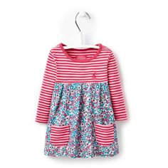 A pretty, long sleeved dress for everyday or occasion by Joules. Hand-drawn floral print. Buy here-free postage over £30.00 or visit our Lyme Regis shop.