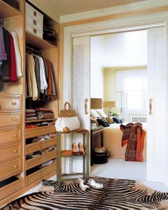 Lovely closet just off master bedroom.  Don't love the cabinet fronts or the wood tone, but other than that, great space.